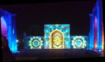 Laser Lichtshow am Registan