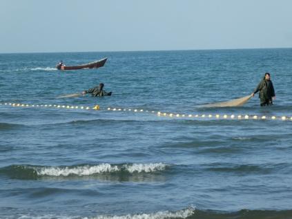 Fischer am Kaspischen Meer