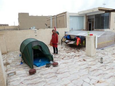 Unsrer nasser Zeltplatz auf dem Dach