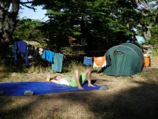 Endlich am Ziel, verdiente Pause im Campamento Centrale