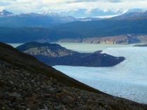 Blick vom John Garner Pass hinunter auf den Greygletscher