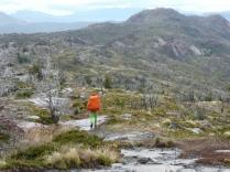 In leichtem Regen unterwegs zum Campamento Paine Grande