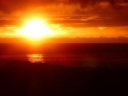 Sonnenuntergang, aus dem Zelt fotografiert