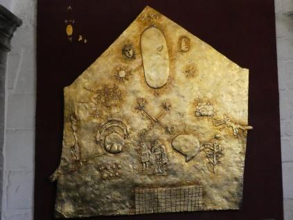Goldplatte mit dem Weltbild der Inka